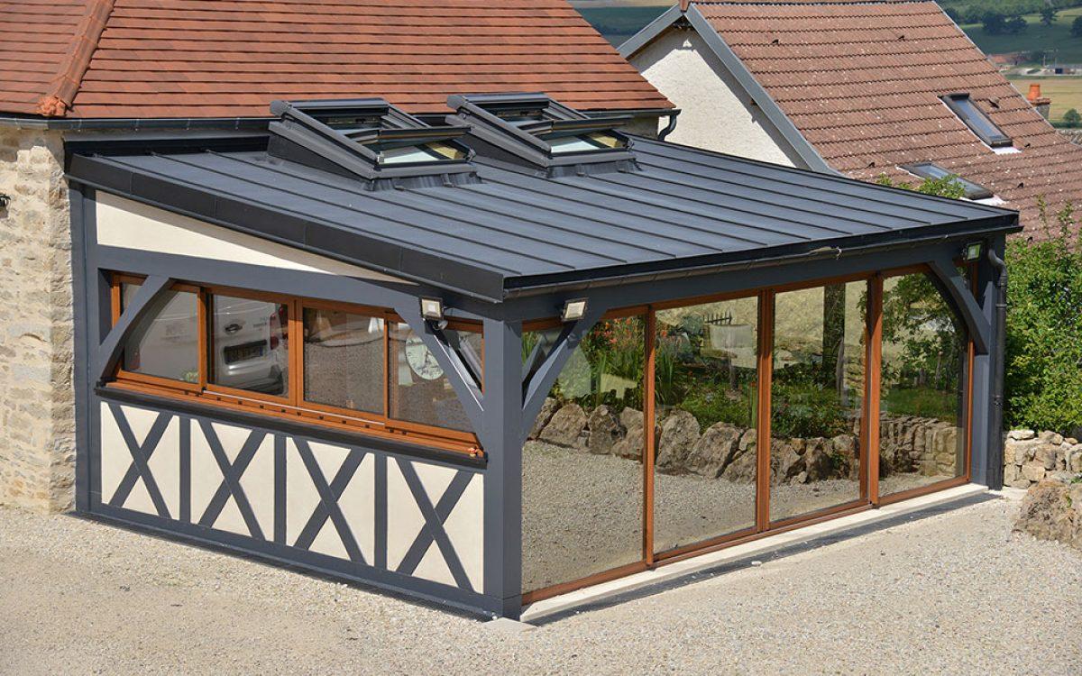 toiture en zinc sur agrandissement bois par les Charpentiers montbardois à Montbard